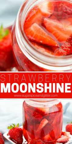 A delicious and simple Strawberry Moonshine, made with store-bought vodka and fresh strawberries. Also contains a recipe for lemon simple syrup to make this a Strawberry Lemonade Moonshine - perfect for strawberry cocktail mixing christmas drink recipes Vodka Recipes, Alcohol Drink Recipes, Lemon Recipes, Grill Recipes, Homemade Alcohol, Homemade Liquor, Strawberry Moonshine Recipe, Vodka Lemonade, Dessert
