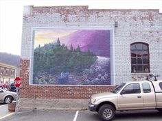 Mural on the outfitter's building, West Jefferson, NC