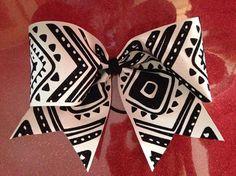 Aztec or Tribal Cheer Bow black glitter by DizzigrlsGlitterwear, $15.00