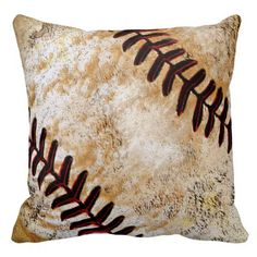 Vintage Baseball Pillows for Men and Boys Vintage Baseball Bedroom. CLICK HERE: http://www.zazzle.com/vintage_baseball_decor_for_guys_vintage_baseball-189263928423504949?rf=238012603407381242*  Rustic brown, tan and beveled baseball stitichin. The baseball pillow has a stone like appearance. Neutral colors for most vintage baseball decor. Click: http://www.zazzle.com/yoursportsgifts/gifts?cg=196287291800049169&rf=238147997806552929*