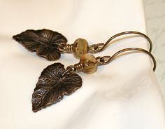 Leaf earrings creme' brule czech glass by CharmingLifeJewelry, $15.00