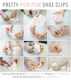 DIY Shoe Clips: Chiffon Pom Poms | photos by http://www.kat-hill.com/  Full tutorial here: http://bridalmusings.com/2013/08/diy-shoe-clips-pom-poms-chiffon-wedding-shoes/