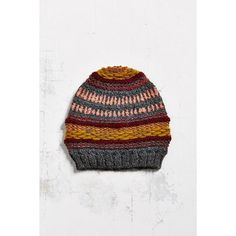emiLime Folk Slouchy Beanie featuring polyvore, fashion, accessories, hats, red multi, knit beanie hats, red hat, red slouch beanie, slouchy beanie and slouch beanie hats