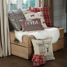 Colours Lamego Cushion In Red: Image 3 Color Stripes, Green Stripes, Stripes Design, Green Door Mats, Checked Cushions, Cream Living Rooms, Christmas Decorations For The Home, Home Board, Soft Furnishings