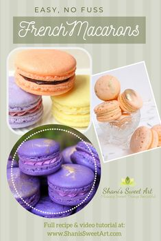 How to make No fuss, easy macarons. Full French macarons recipe and video tutorial easymacarons frenchmacarons macaronsrecipe frenchmacaronrecipe easyfrenchmacarons via Easy Cake Recipes, Best Dessert Recipes, Easy Desserts, Cookie Recipes, Delicious Desserts, Dessert Ideas, French Macarons Recipe, Macaron Recipe, Cake Decorating Tips