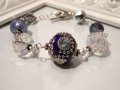 Purple Indonesian and Crystal Bead Bracelet by houseofTROCK, $15.00
