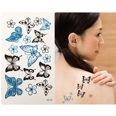 Temporary Tattoo Sticker Butterfly Shaped Waterproof Flash Paper Body Art For Women