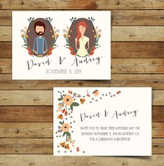 Autumn Wedding Invitation on Etsy, $7.00  You can get someone on Etsy to draw you something like this so it is super original and then print them yourself cheaply.