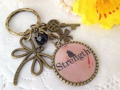 Inspirational Word  Strength Pendant Keychain with by PrettySang, $10.90
