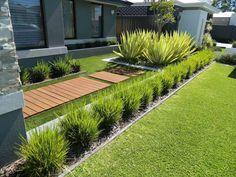 bordure jardin moderne metal parterre plantes grasses
