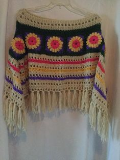 "Women's crochet ""Garden "" party theme poncho. Blue ""Garden Party"" poncho is size large and cotton. Pull Crochet, Mode Crochet, Crochet Shawl, Easy Crochet, Crochet Stitches, Knit Crochet, Crochet Patterns, Crochet Capas, Big Knit Blanket"