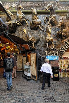 The Camden Stables Market in London, consists of a group of 19th century horse stables, horse hospital, workshops, warehouses and vaults, all connected by cobbled lanes, with it's various levels connected by ramps. It all started in 1854.
