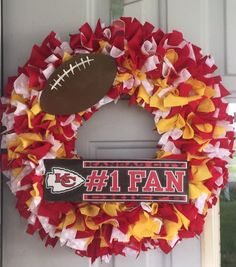Kansas City Chiefs Wreath by WeAreTyedInKnots on Etsy