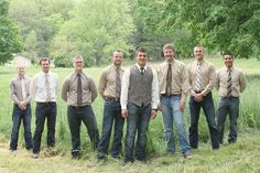 hmm... I love mismatched bridesmaids. But never thought about mismatched groomsmen????? I kinda like it!