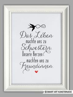 """Originaldruck - """"SCHWESTERHERZ"""" Kunstdruck Geschenk - ein Designerstück von Smart-Art-Kunstdrucke bei DaWanda"""