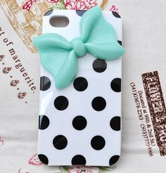 White phone case for iPhone 4 4S  with blue bow and by Flowergifts, $4.99