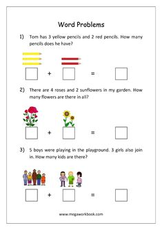 Addition and Subtraction Word Problems Worksheets For Kindergarten and Grade 1 - Story Sums - Story Problems Addition Worksheets First Grade, Worksheets For Class 1, Printable Math Worksheets, Kindergarten Math Worksheets, Grade 1 Worksheets, Math For First Graders, First Grade Words, Addition Words, Math Addition