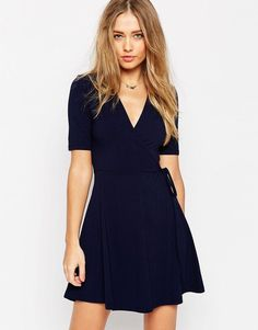 Image 1 of ASOS Mini Tea Dress with Wrap Front