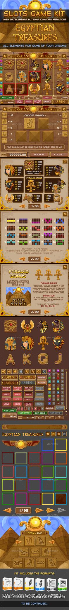 Egyptian treasures slots game — Photoshop PSD #sign #reel • Download ➝ https://graphicriver.net/item/egyptian-treasures-slots-game/11093987?ref=pxcr