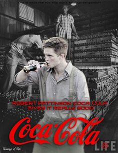 "Hard Drinkin Vampire: Coca Cola Advertisements - Bing Images.  If you were to take Pattison out of the picture----the background looks so much like the pallets of coke where I as a child used to play ""hideout""."