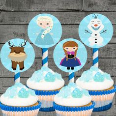 7pc Frozen Cupcake Toppers Party by PartyPrintableInvite on Etsy