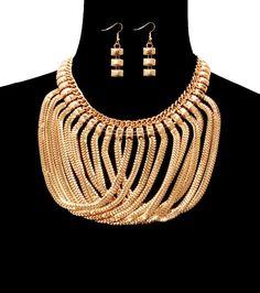 GOLD EGYPTIAN BOX CHOKER OMEGA DRAPE LOOP Statement Necklace