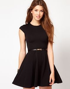 Club L Fit And Flare Dress With Bow Belt