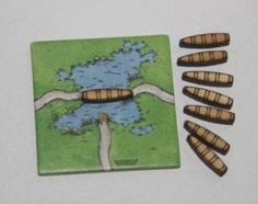 Pack of 8 Wooden ferries for Carcassonne