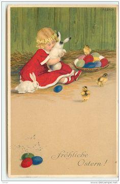 Pauli Ebner — Old Easter Post Cards Easter Illustration, Spring Images, Easter Parade, Easter Art, Vintage Greeting Cards, Vintage Easter, Kids Cards, Vintage Postcards, Vintage Children