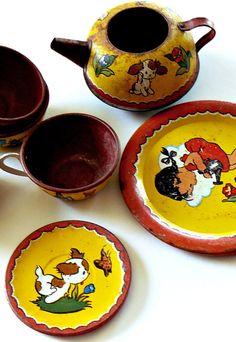 30s Ohio Art Happy Puppy Tin Toy Tea Set by turnipmims on Etsy, $65.00