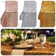 Wholesale Gold/Silver/Champagne Sequin Tablecloth Sparkly Bling Tablecloths 40 X…