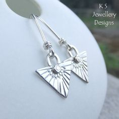 Tribal Triangle Drops Sterling Silver Earrings - Metalwork Feather Texture £30.00
