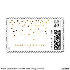 White Gold Glitter Confetti Faux Foil Postage Stamp