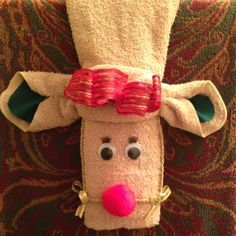 At Roger and Ann's. reindeer towel in the bathroom