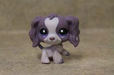 Littlest Pet Shop #1018 Purple Cocker Spaniel with flower on ear & blue eyes