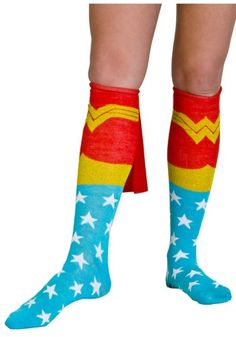 Wonder Woman sock game!! And the socks have capes!! How awesome is that?!?