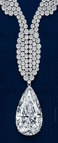 Harry Winston ~ Diamond Wave Necklace with Diamond teardrop pendant.