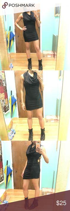 All Saints black mini dress All Saints black mini dress 80%viscose And 20% wool size 8 but fits more like size 2/4  shirred one the right side to make a slight uneven hem. All Saints Dresses Mini