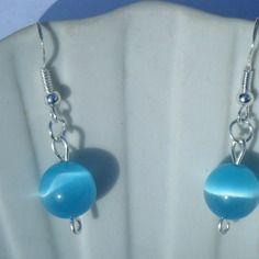 Boucles d'oreilles perles en verre bleues - créabijoux lolo - bijoux fantaisies