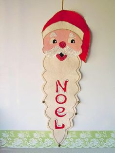 Vintage 1960s Felt Santa Claus Wall Hanging Christmas Decoration Noel