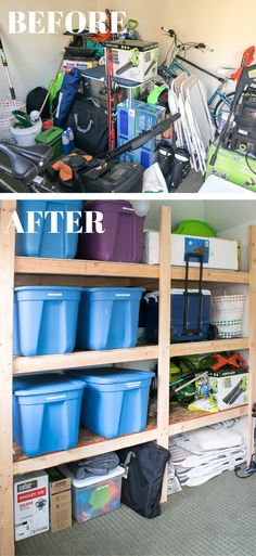 Does your shed or garage look like a disaster area? These storage shelves are easy to make for less than $50, and fit a TON of stuff! | garage storage | shed storage | storage shelf plans | free woodworking plans | easy woodworking project | storage and organization