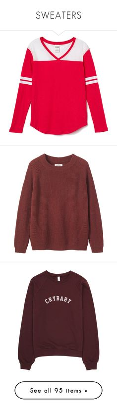 """""""SWEATERS"""" by teenage-girl-documentary on Polyvore featuring tops, t-shirts, long sleeve shirts, tops/outerwear, curved hem t shirt, striped long sleeve shirt, pink stripe shirt, long sleeve v neck shirt, stripe shirt and sweaters"""