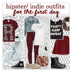 """""""hipster / indie outfits for the first day ✿"""" by tiny-tips ❤ liked on Polyvore featuring Bershka, Converse, River Island, rag & bone, French Connection, Bench, Dorothy Perkins, Madden Girl, Forever 21 and Topman"""