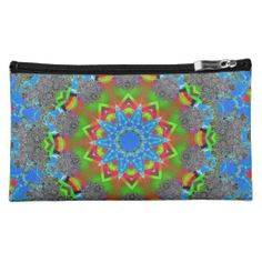 Cosmetic bag to fit into your handbag. Brightly patterned and lots of fun.