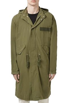Topman Oversized Military Parka with Detachable Hood