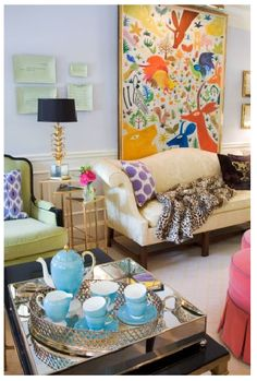 Pretty color and great styling of this Palm Beach Style living room