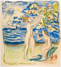 E. Munch: Nøytralitet En kommentar til Danmark og Norge som holder seg nøytrale under første verdenskrig. Maleri til plakat til den Norske Utstilling i København