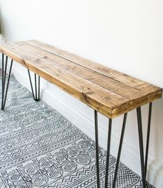 Sustainable Rustic wooden Bench with harpin legs, Farmhouse Style decor, Modern Bedroom home furnishings, Entryway benches, Seating - Details Dimensions 10 inches x 36 Made from Oak & Steel harpin legs. Handmade Item Made in Rhode Is - Bedroom Furnishings, Diy Bench, Diy Coffee Table, Decor, Rustic Wooden Bench, Home Diy, Diy Furniture, Coffee Table, Home Furnishings