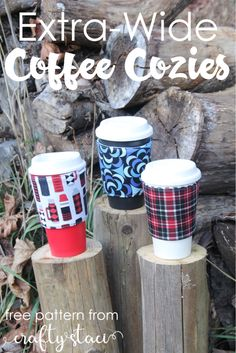Extra Wide Coffee Cozies from Crafty Staci #coffeecozy #coffeecupsleeve #giftsforguys #diygifts