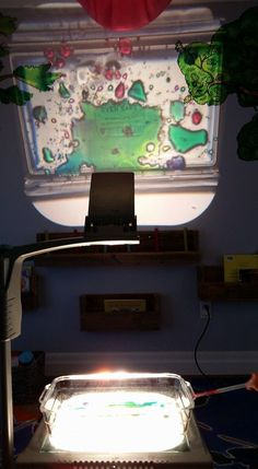 oil and watercolors on overhead projector - as seen by member Katelyn Moon in The Ultimate Light Table Guide Facebook group